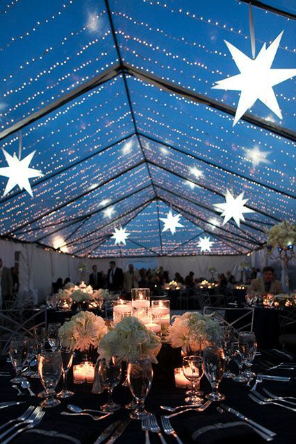 lights and stars over the reception is a gorgeous celestial or star-inspired wedding idea