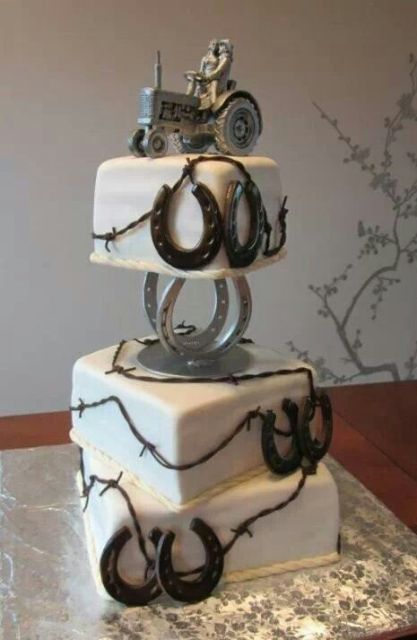 a farmer's wedding cake with lots of edible horseshoes and a creative wedding cake topper with a tractor