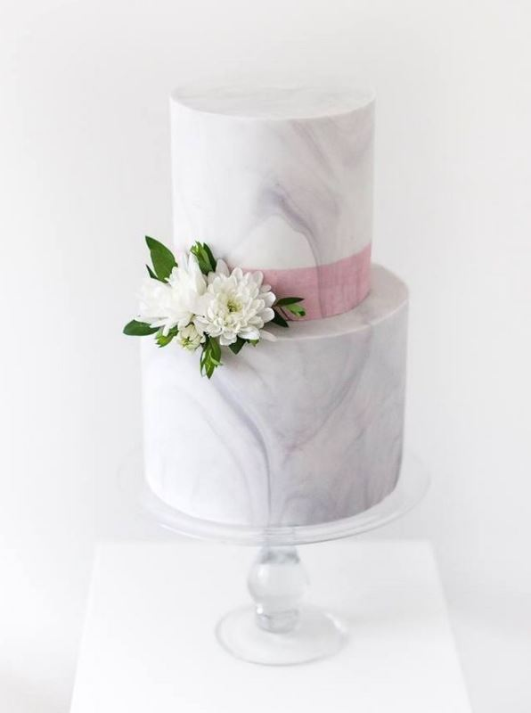 Picture Of chic and luxurious marble wedding cakes  19