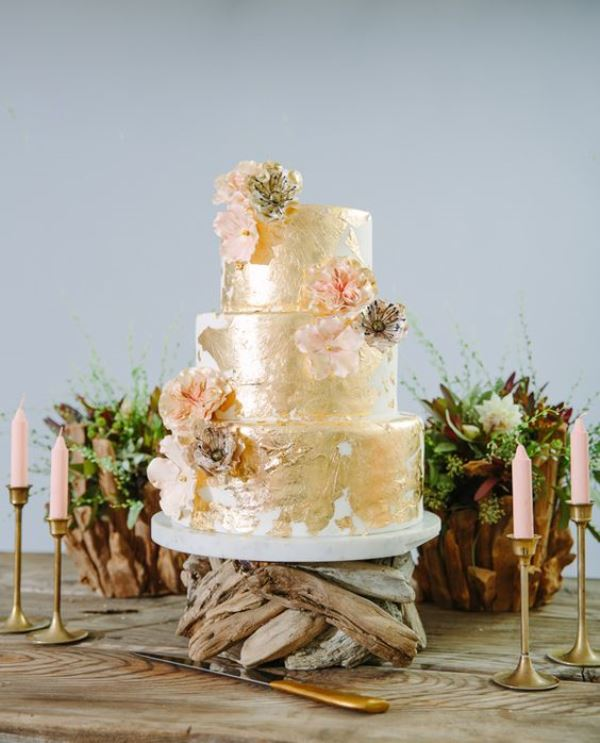 Of glamorous gold leaf wedding cakes 16
