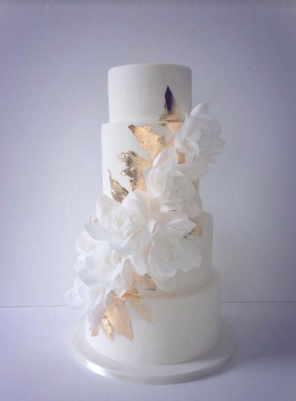 Picture Of glamorous gold leaf wedding cakes  17