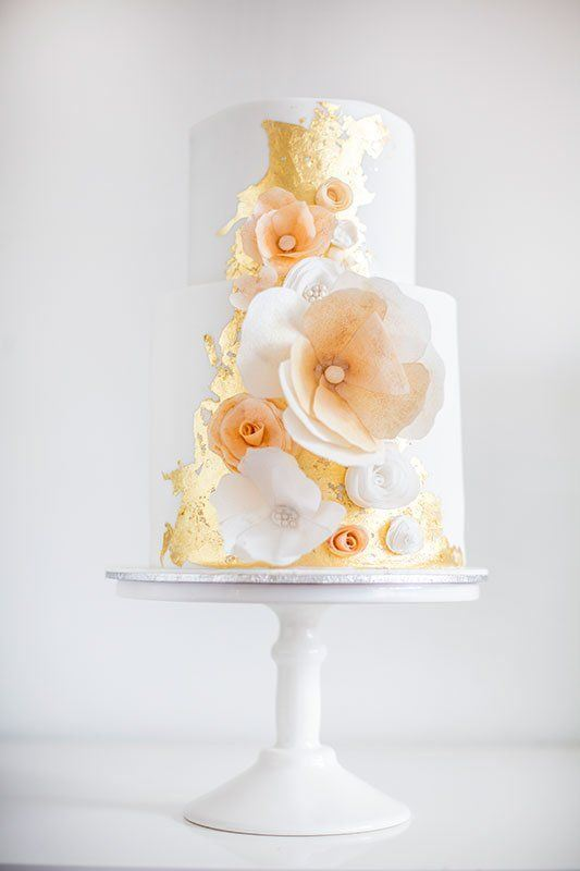 Glamorous Gold Leaf Wedding Cakes
