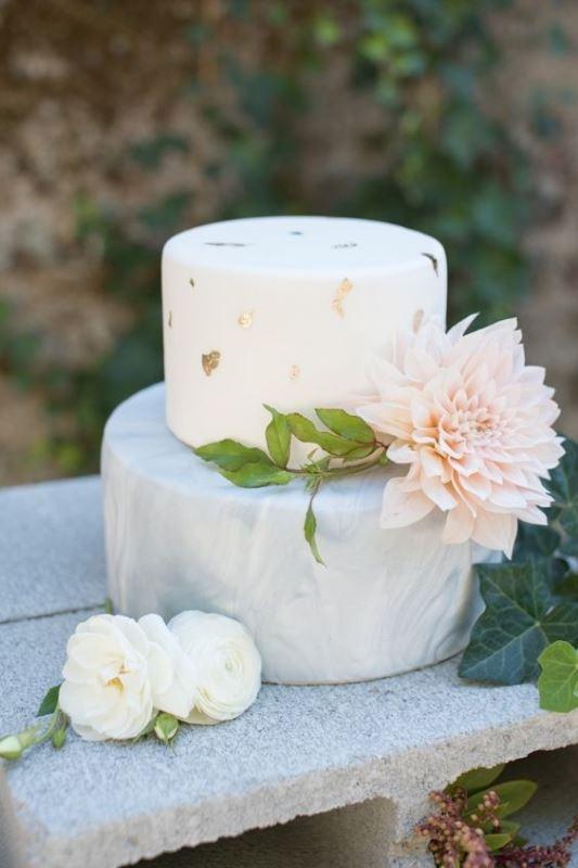 Glamorous Gold Leaf Wedding Cakes