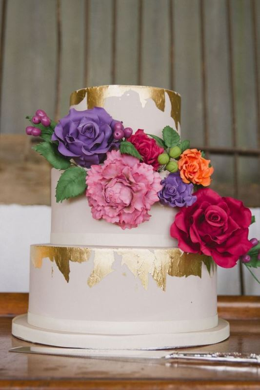 Picture Of glamorous gold leaf wedding cakes  6