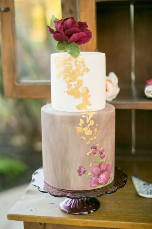 Picture Of glamorous gold leaf wedding cakes 8