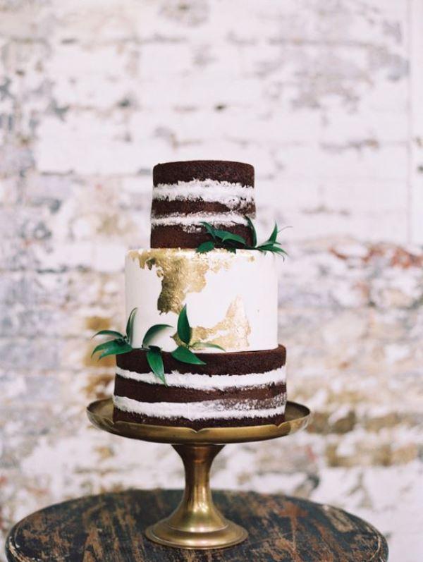 30 Glamorous Gold Leaf Wedding Cakes Weddingomania