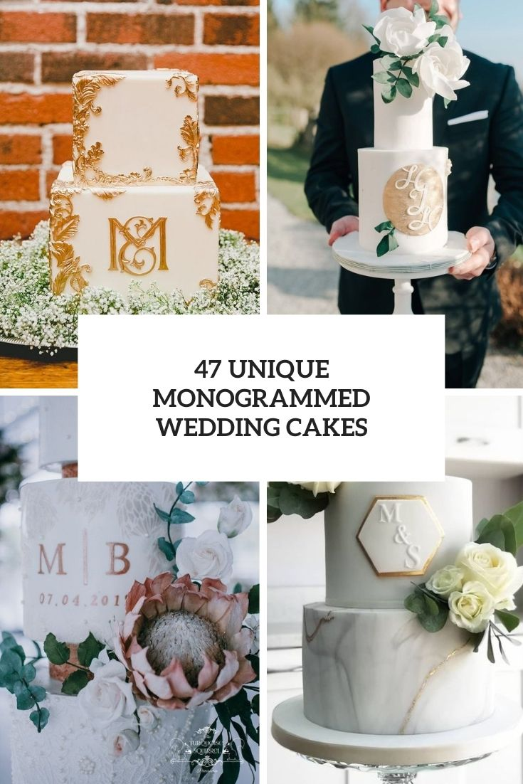 unique monogrammed wedding cakes cover