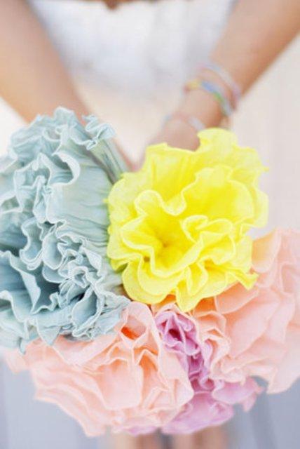 DIY Crepe Paper Flower Bouquet For Your Wedding Decor