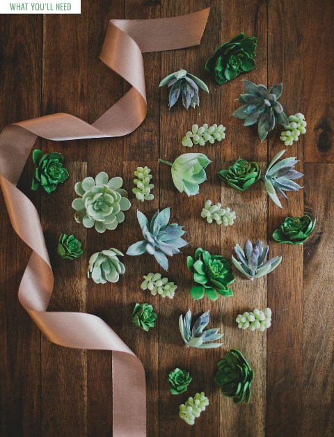 Simple And Elegant DIY Succulent Wrist Cuff For Bridesmaids