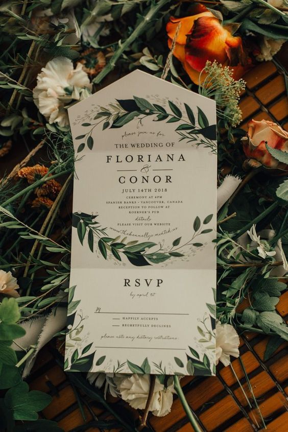 a botanical wedding invitation for a forest-themed wedding is a great idea in any season, and it looks not too bold