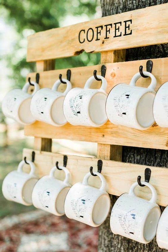 a coffee mug station  - personalize each mug to give them as wedding favors that are budget-friendly