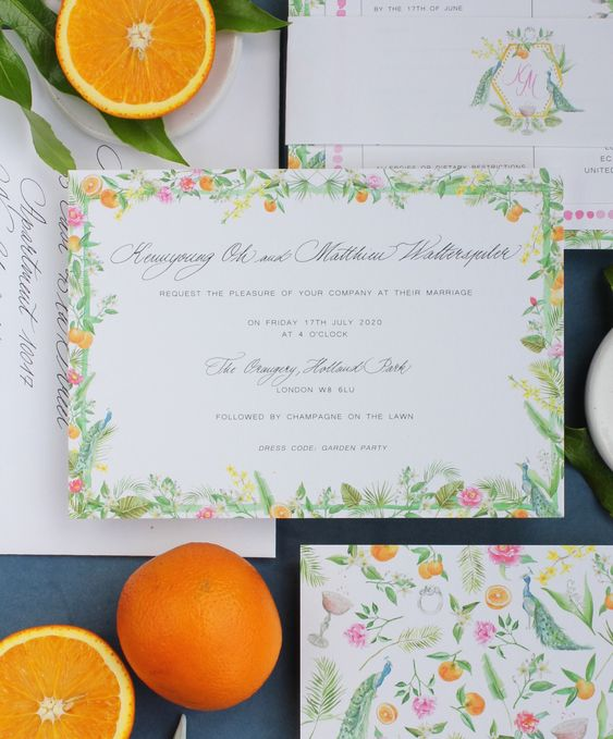 a colorful botanical wedding invitation suite with leaf and greenery prints and frames is a lovely idea for a bright summer wedding