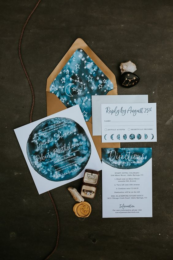 a constellation wedding invitation suite done in blues, with rust and constellations and an ombre effect