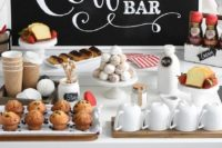 a cozy coffee bar with a large chalkboard sign, sweets, mugs, milk in bottles and cute cups is all you need to cozy up your reception