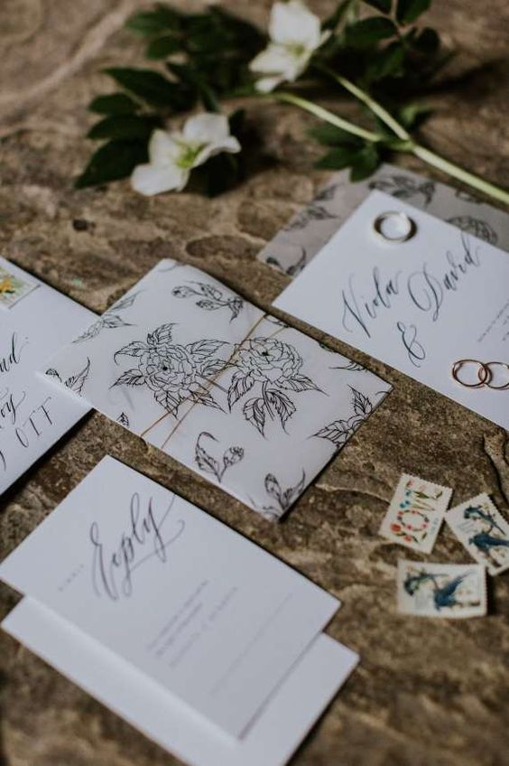 a delicate black and white botanical wedding invitation suite with elegant calligraphy is classics for a spring or summer wedding