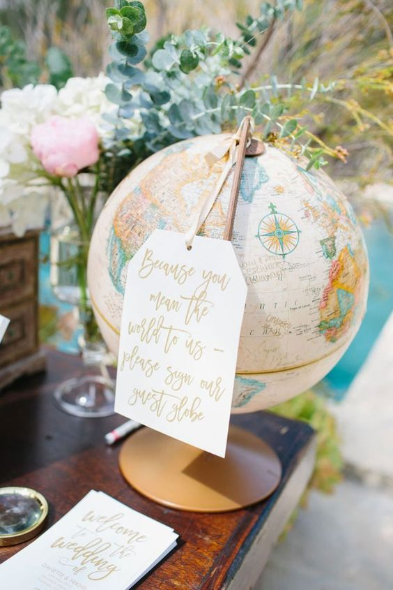 a large globe with a large tag is a nice wedding decoration and it can double as a wedding guest book, too