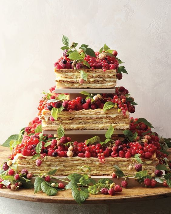 a millefoglie wedding cake contains endless tiers of puff pastry, pastry cream, and fresh fruit