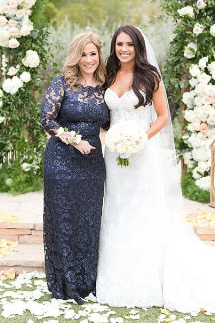 a navy lace fitting mother of the bride dress with an illusion neckline, long sleeeves for a classic and chic look