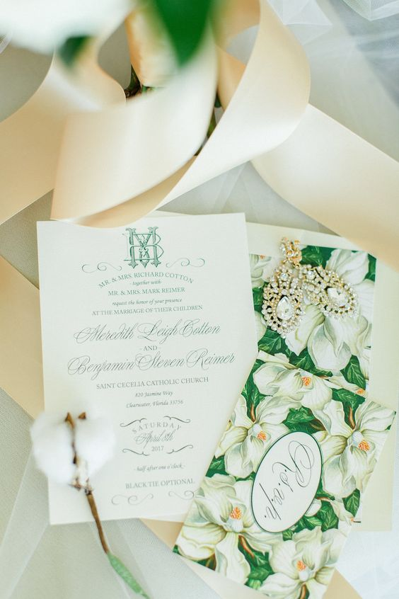 a refined green and white botanical wedding invitation with green calligraphy is a stylish solution for a sophisticated wedding