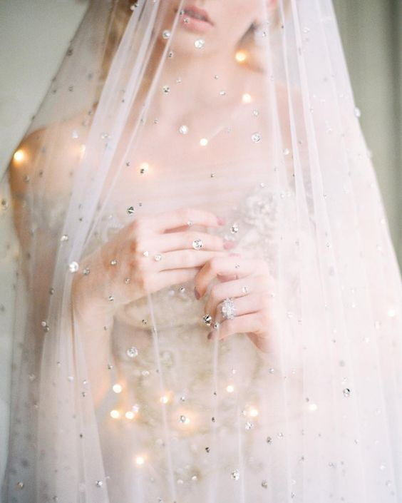 a rhinestone veil is a gorgeous idea for a celestial or galaxy bride who wants to sparkle all over