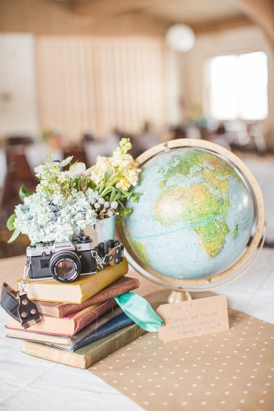 a wedding centerpiece of a stack of vintage books, a vintage camera, pastel blooms and a large globe for a travel-themed wedding