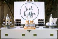 an iced coffee bar is a stylish and cool idea for a spring and summer wedding