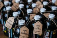 cold brew coffee in bottles is a great wedding favor for a spring or summer wedding of a coffee-loving couple