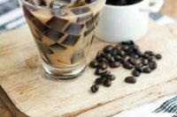 cold coffee – milk with coffee ice cubes – is ideal for hot summer weddings