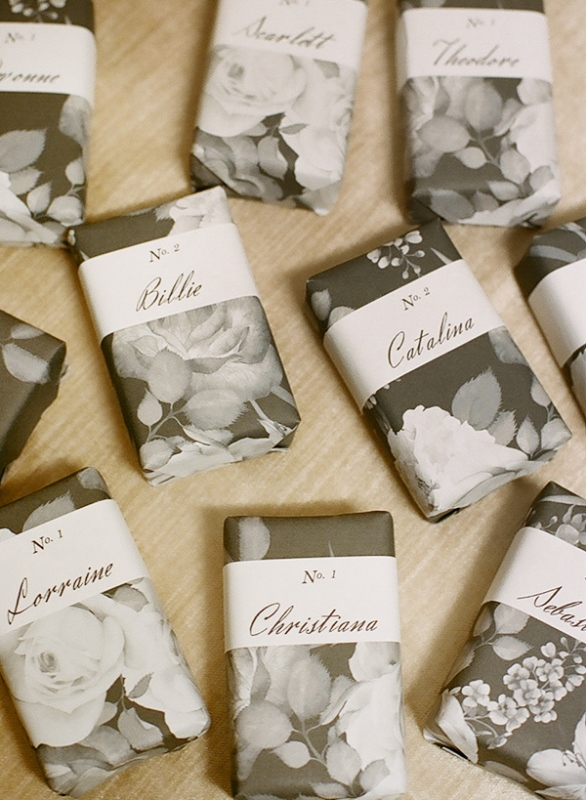 Elegant DIY Wrapped Soap Favors And Escort Cards