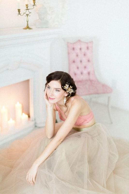 Flirty And Playful Bridal Boudoir Shoot In Blush Pink