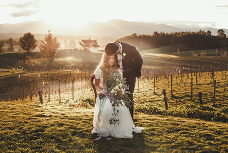 Picture Of intimate and romantic vineyard wedding shoot  17