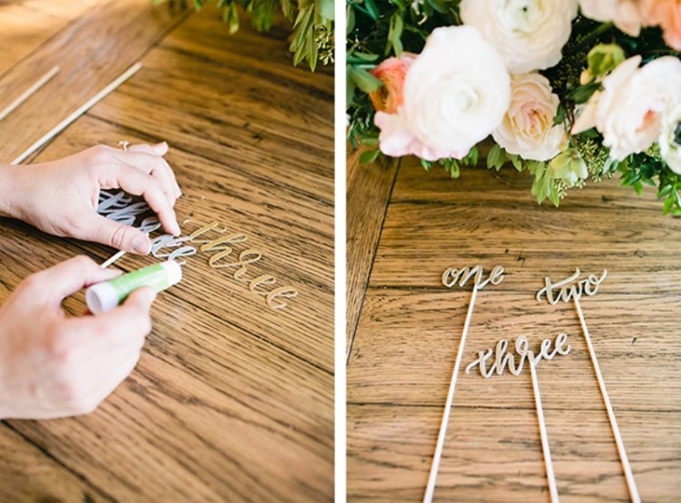 Lovely DIY Calligraphy Table Numbers