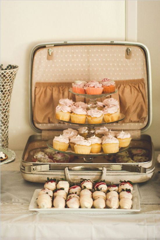 offer wedding desserts and sweets in a vintage suitcase to match your wedding theme