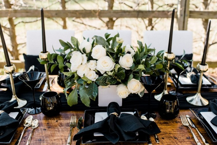 Rustic Organic And Modern Black White Wedding