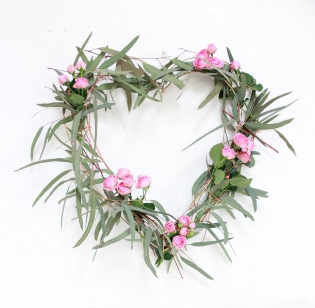 Picture Of sweet diy heart eucalyptus wreath  3