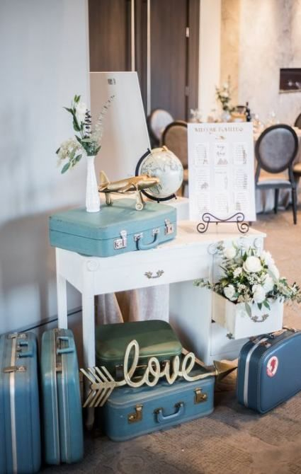 wedding decor done with lots fo vintage suitcases, white blooms and greenery, a globe and a plane