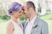 purple hair spruces up the bridal look and makes it special and unique, no special accessories are required