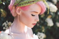 bright pink hair in a simple updo with greenery plus a blush wedding dress is a refined idea for a non-typical bridal look