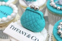 breakfast at Tiffany's themed cupcakes in tiffany blue, white and silver