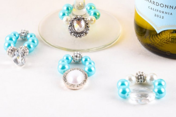 tiffany blue, silver and rhinestone jewelry as gifts for the breakfast at Tiffany's bridal shower