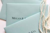 tiffany blue envelopes and pearls for elegant bridal shower invitations