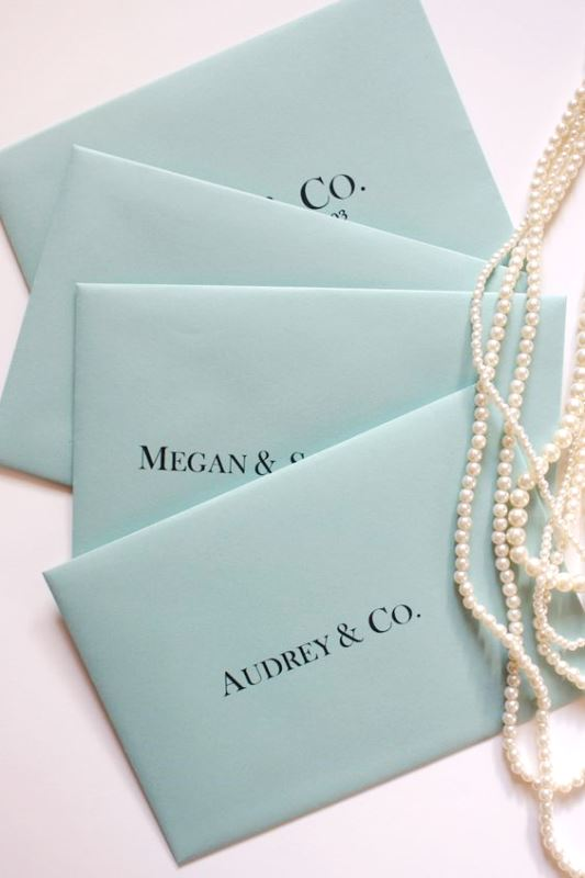 tiffany blue envelopes and pearls for elegant bridal shower invitations