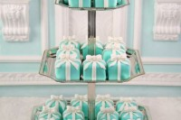 sweets looking like tiffany blue gift boxes with white ribbon bows, so delicious and cool