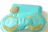 give your gals tiffany blue sleeping masks with embroidered eyelashes as a cool and fun gift