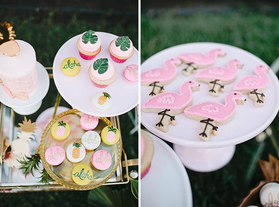 tropical themed desserts, flamingo and fruit painted cookies and tropical leaf cupcakes
