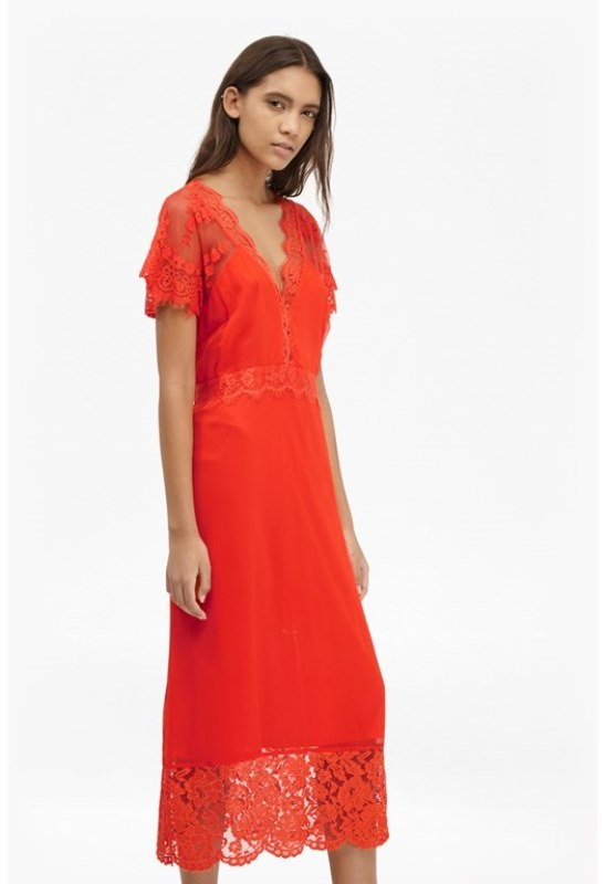 a red midi dress with lace detailing, a V-neckline and short sleeves for a colorful statement