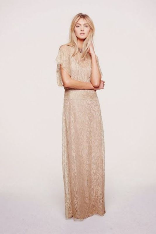 a nude lace maxi sheath dress with an illusion neckline and short sleeves for a more relaxed outfit