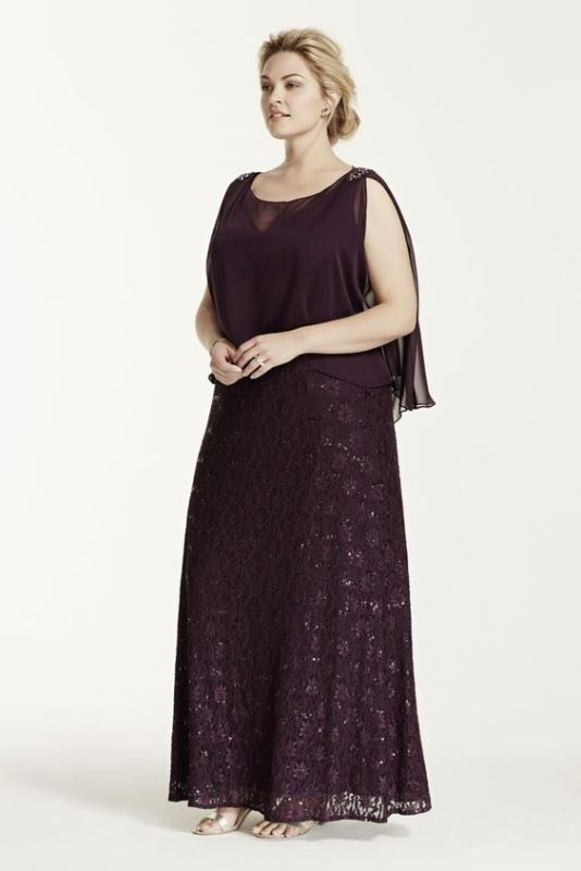 a plum-colored embellished maxi dress with a sheer top over it for a formal wedding