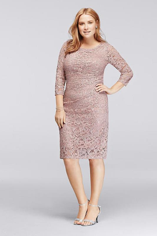 a blush lace knee dress with long sleeves and metallic heels will work for many wedding styles
