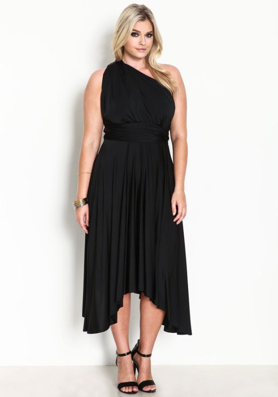 a black draped one shoulder dress with an asymmetrical skirt and black heels is a chic and timeless idea